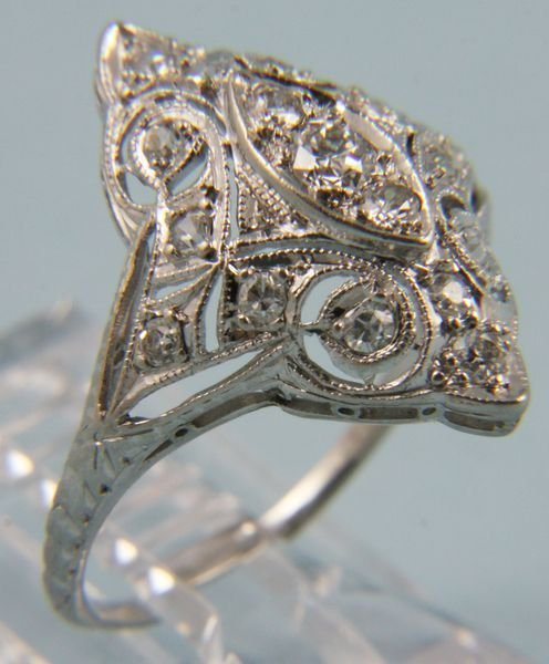 2003: Ladies 1920's gold and platinum diamond ring