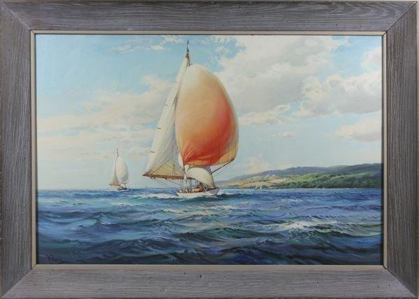 "3021: W. Knox (20th C.), ""Yacht. 'Sceptre' "", O/C"