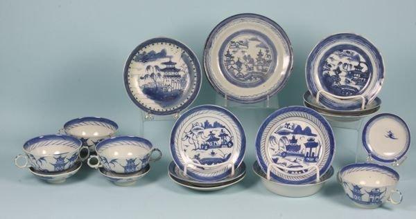 3022: Fourteen (14) Pieces of 19th C. Canton Porcelain
