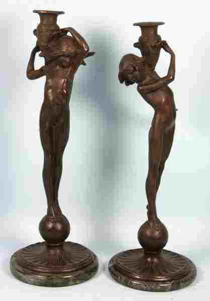 3114: Pair of Edward McCartan Bronze Candlesticks