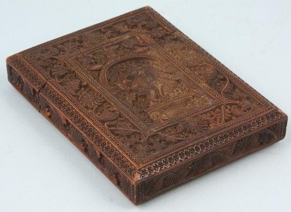 4013: Carved Wood Indian Card Holder