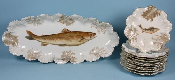 4021: French Limoges Fish Set