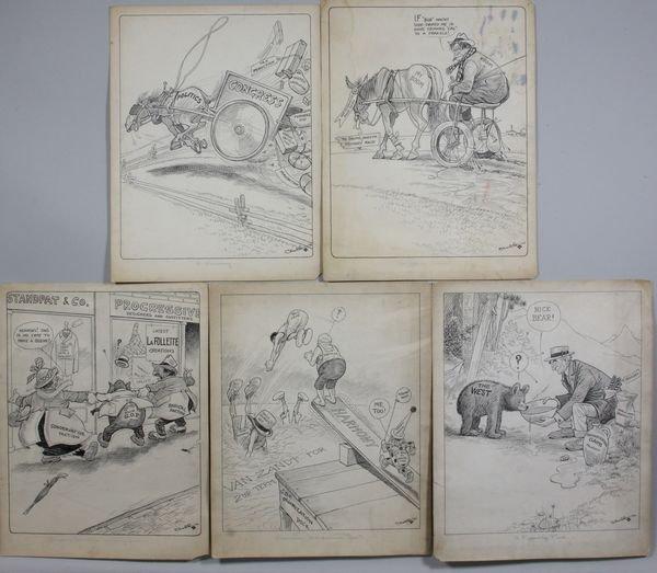 4020: Five Political Cartoons by John Scott Clubb