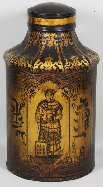 5020: 19th C. Chinese Tin Tea Canister