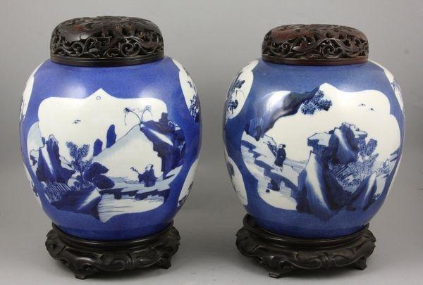 5097: Pair of 19th C. Chinese Porcelain Jars