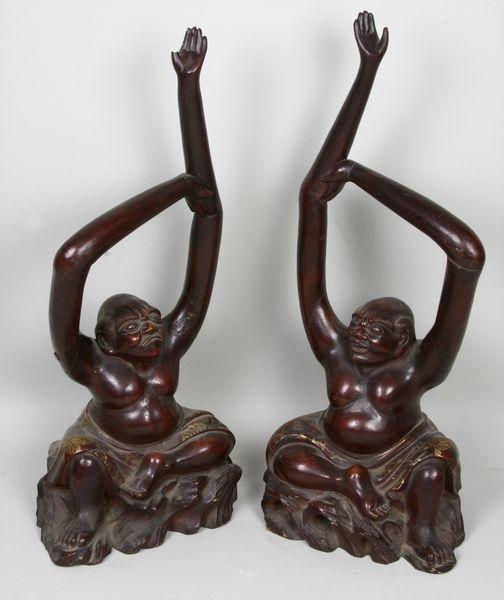 5012: Pair of Japanese wood monkies