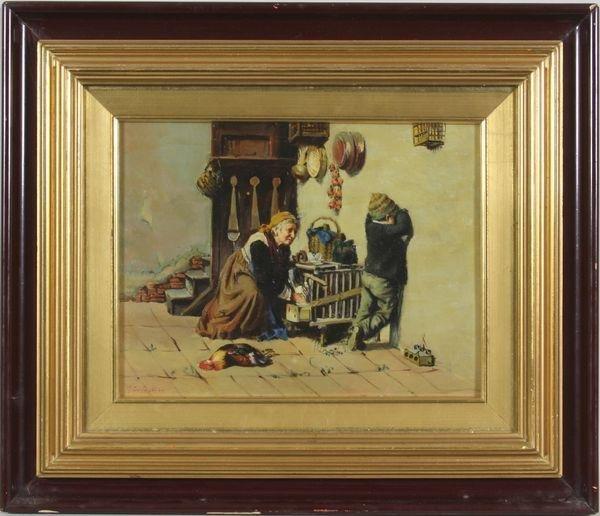 6004: Interior Scene, Oil on Panel