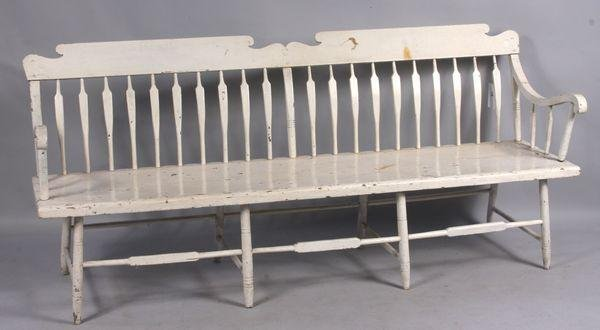 6022: Early 19th C. Sheraton Style Long Bench