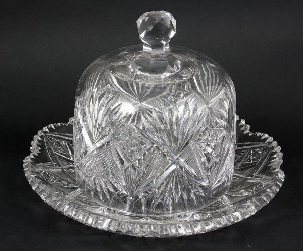 6003: American Brilliant Cut Glass Butter Dome