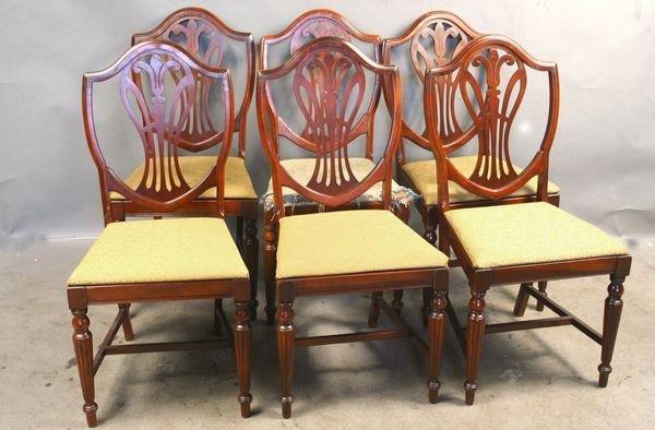 6007: Set of (6) C1930 Mahogany Shield Back Chairs