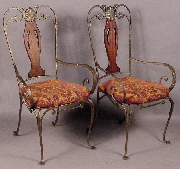 1: SET OF SIX DESIGNER WROUGHT IRON CHAIRS