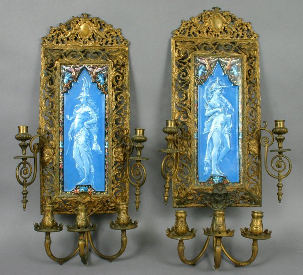 7: PAIR 19TH CENTURY BRONZE & MAJOLICA WALL SCONCES
