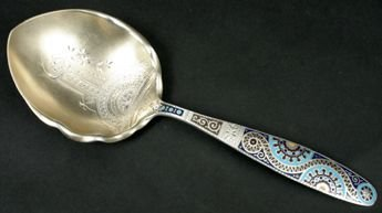 27: 19TH C. GORHAM ENAMELED STERLING SERVING SPOON