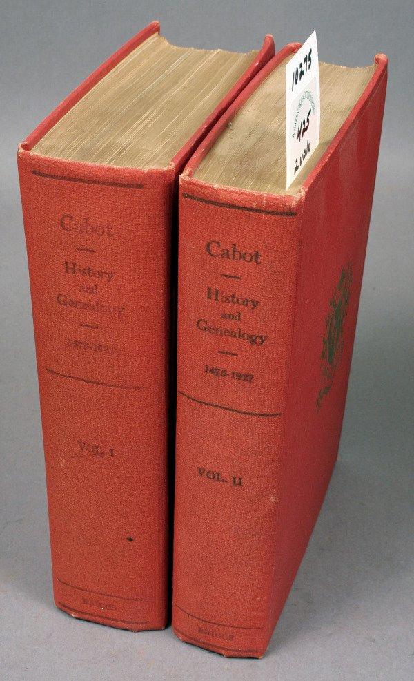 1425: GENEALOGY OF CABOT FAMILY 1475-1927 2 VOLS 1ST