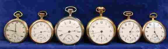 1654 SIX OPENFACE POCKET WATCHES HAMILTON WALTHAM