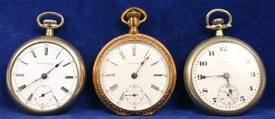 1656 THREE OPENFACE POCKET WATCHES WALTHAM ELGIN