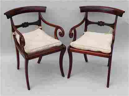 Pair of English Regency Mahogany Armchairs