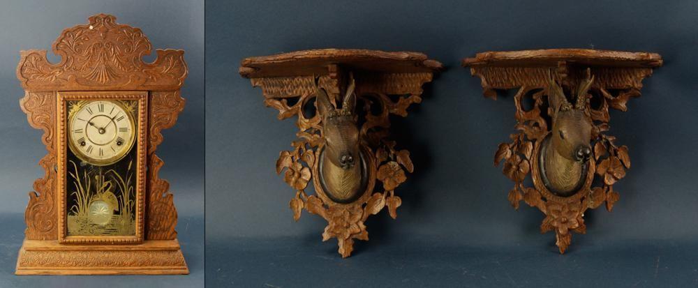 German Deer Head Shelves with Seth Thomas Clock