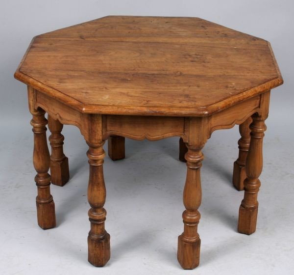 7023: 20 C. Hand Carved Octangonal Table