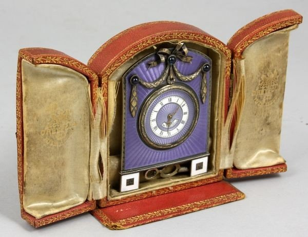 7383: Sterling and Guilloche Enamel Travel Clock