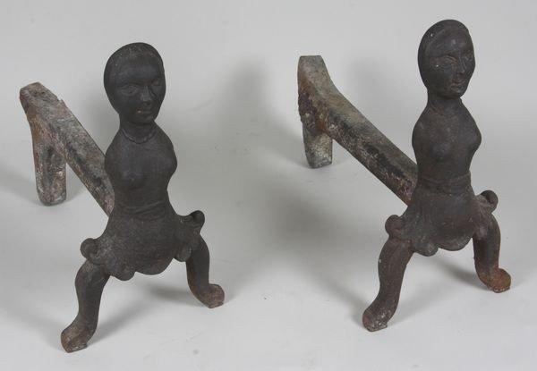 8001: Pair of Cast Iron Andirons