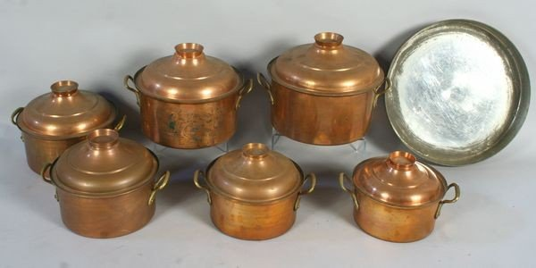 8002: Collection of Turkish Copper and Brass Pots