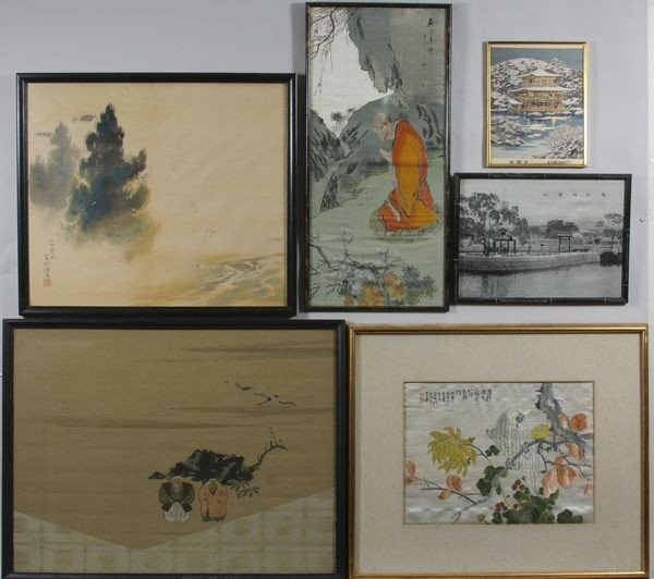 8008: Lot of Six (6) Asian Embroidered Scenes