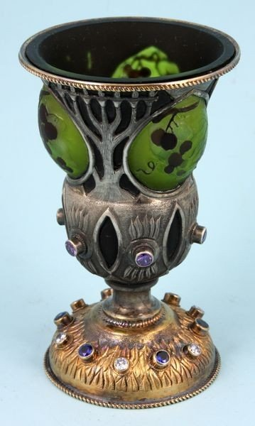 8368: Footed Goblet Made of Cameo Glass