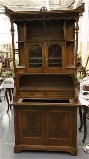French Art Nouveau Two Piece Cabinet