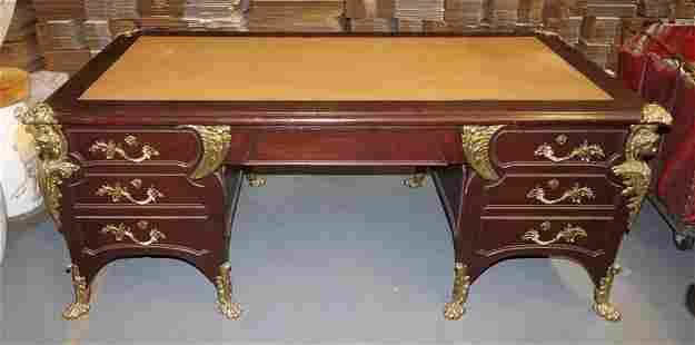 19th Century French Partner's Desk Ormolu Trim