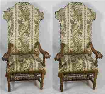Pair of Continental Upholstered Throne Chairs