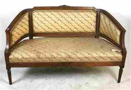 Louis XVI Style Carved Walnut Settee