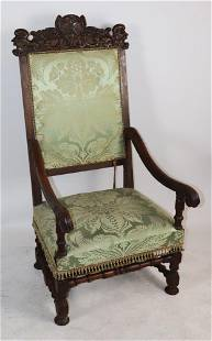 17th Century English Carved Walnut Armchair