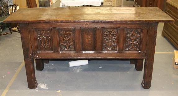 Antique English Carved Oak Cabinet