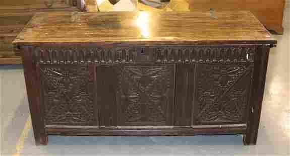 18th Century English Carved Oak Coffer
