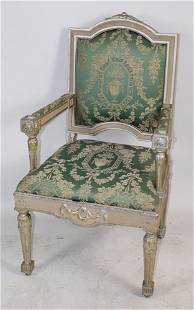 French Silver Gilt Upholstered Armchair