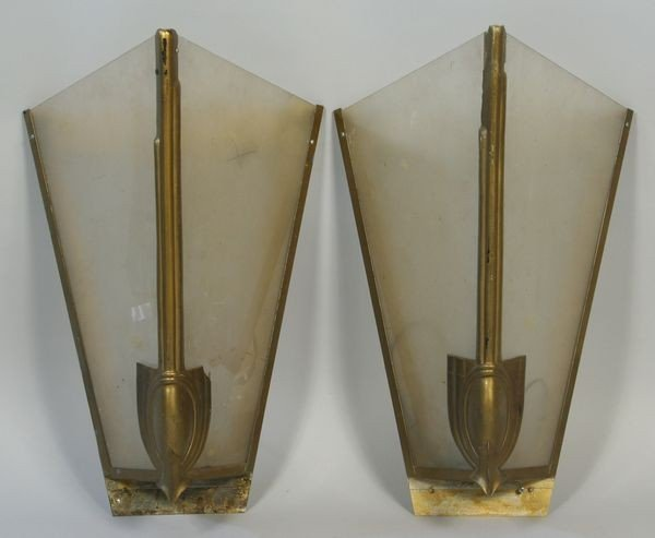 3: Pair of Large Art Deco Style Wall Sconces