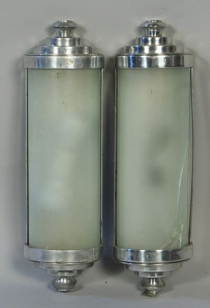 4: Pair of Chrome/Glass Half Cylinder Wall Sconces
