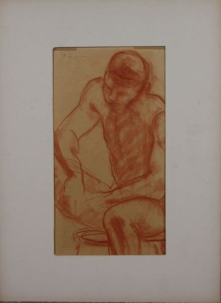 22: Prescott Jones, Male Figure, Orange Drawing