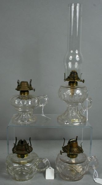 1: Four (4) 19th C. Victorian Glass Lamps