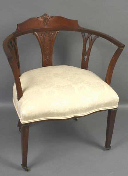 24: 1920 Mahogany Armchair w/ Carved Back