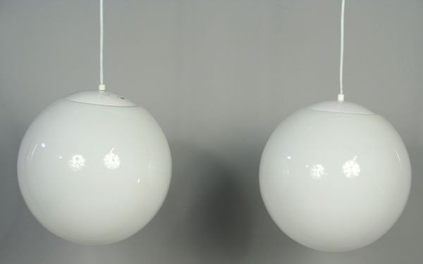 9013: Pair of White Glass Globe Pendant Lanterns