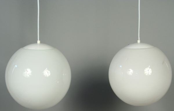 9014: Pair of White Glass Globe Pendant Lanterns