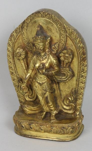 9015: Gilt Tibetan Goddess in Relief