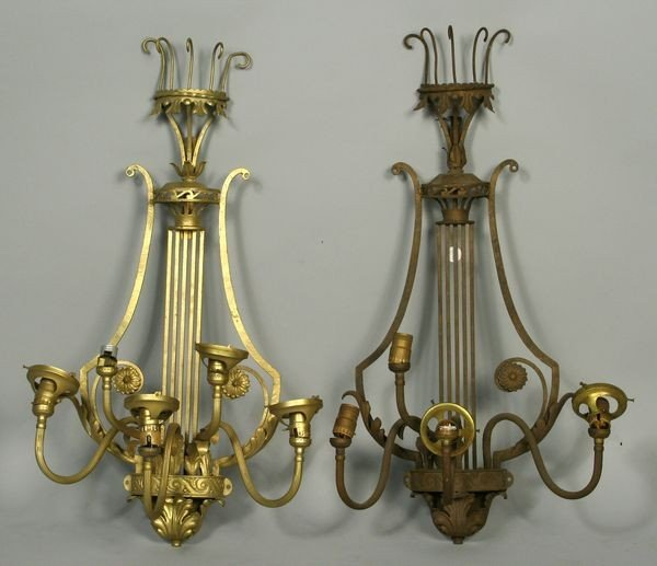 9010: Pair of Lyre Shaped Wall Sconces