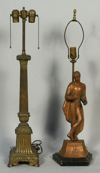 9024: Lot of Two (2) Table Lamps w/ Greco-Roman Motif