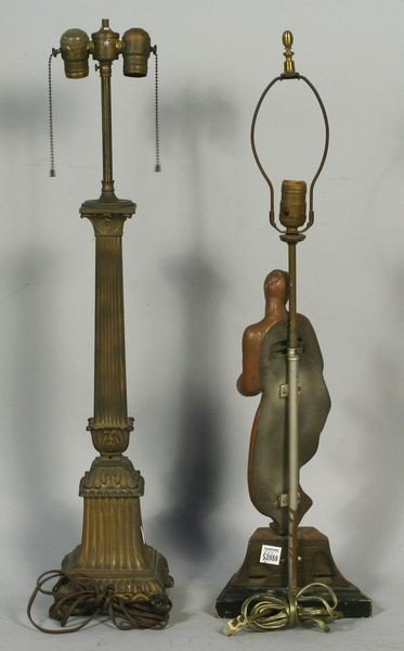 9024: Lot of Two (2) Table Lamps w/ Greco-Roman Motif - 2