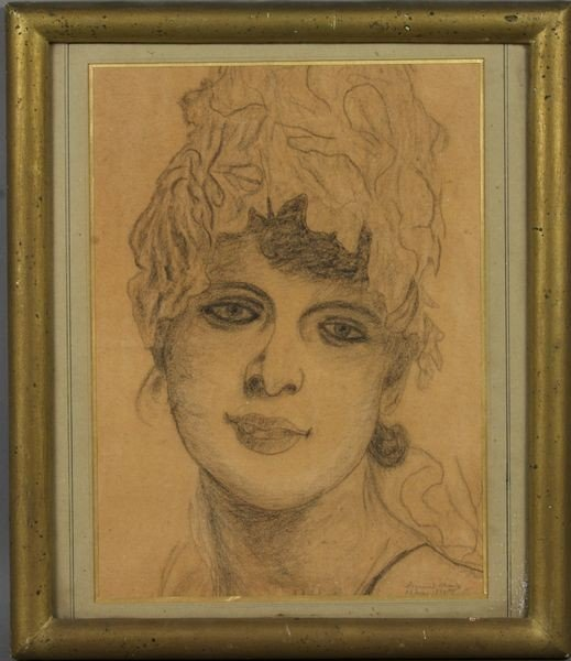 9012: 19th Century Charcoal Drawing, Dated 1893