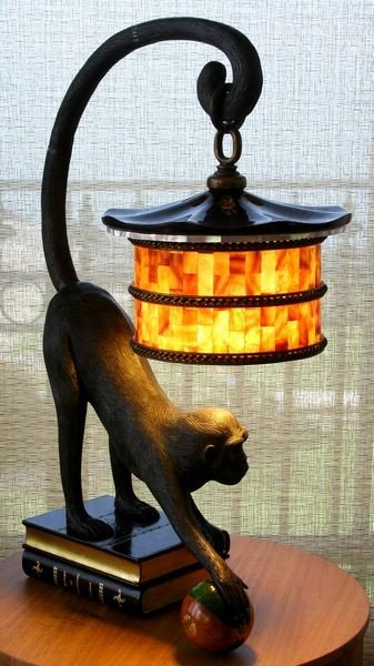1116: Pair of Maitland Smith Monkey and Book Lamps