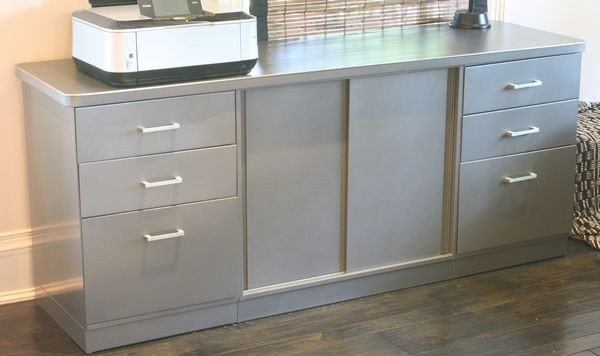 1250: Grey Metal Credenza with File Drawers and Cabinet